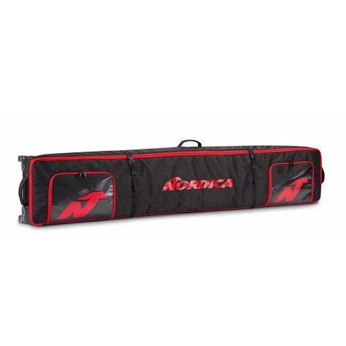 Pokrowce na narty zjazdowe double roller ski bag czarny 200 czerwony marki Nordica