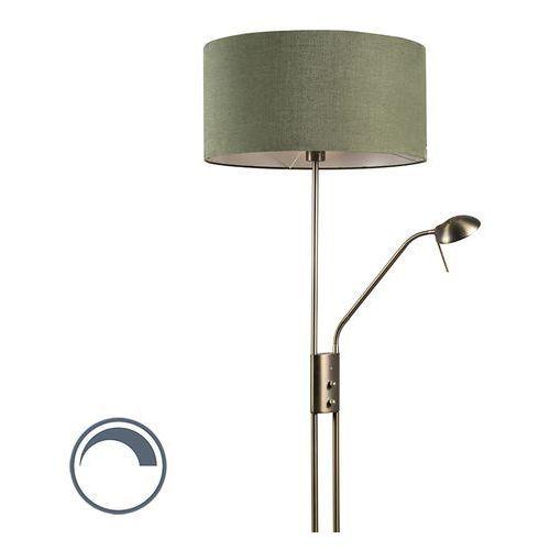 Qazqa Lampa podłogowa luxor brąz klosz 50cm zieleń mchu