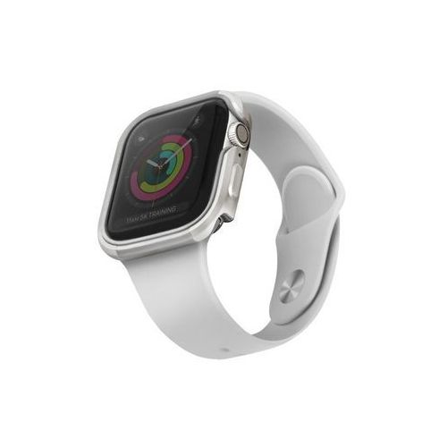 etui valencia apple watch series 5/ 4 40mm srebrny/titanium silver - srebrny marki Uniq