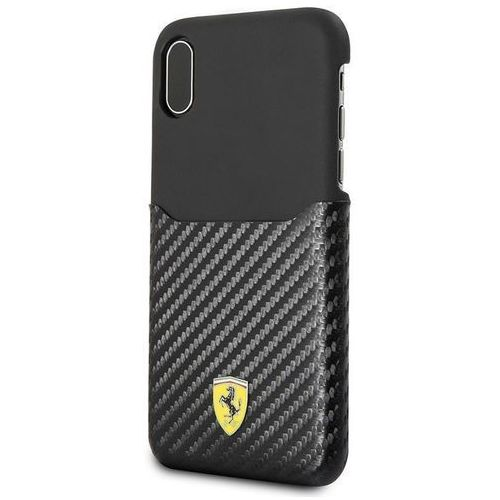 Ferrari carbon hard case - etui iphone x z kieszenią na kartę (czarny) (3700740407974)