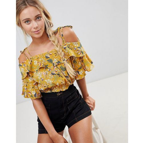 floral cold shoulder crop top - yellow marki Qed london