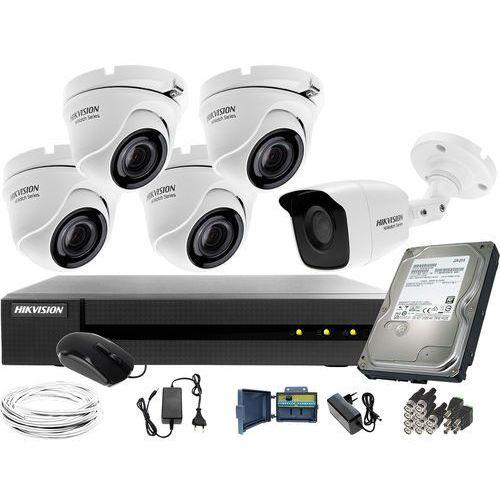 Zm12767 5 kamerowy zestaw do monitoringu hikvision hwd-6108mh-g2, kamery kopułowe i tubowa, 1tb, akcesoria marki Hikvision hiwatch
