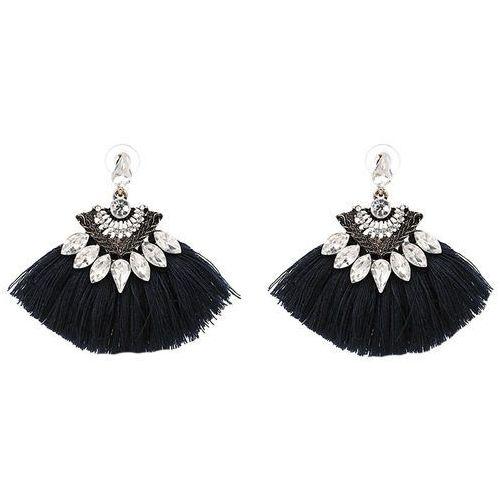 Cloe Kolczyki szerokie chwost kryształki czarne - czarne