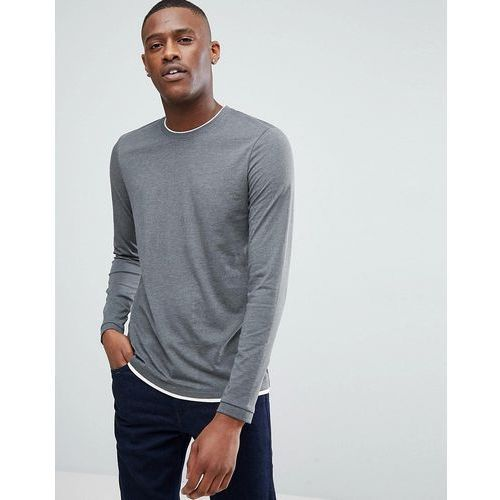 Esprit Long Sleeve T-Shirt With Double Layer Neck - Grey