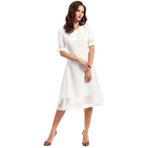Ecru wizytowa sukienka midi z szyfonowymi wstawkami marki Moe