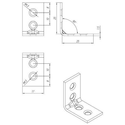 Domax Kątownik wąski ocynkowany kw 1 25x25x17x1,5 mm