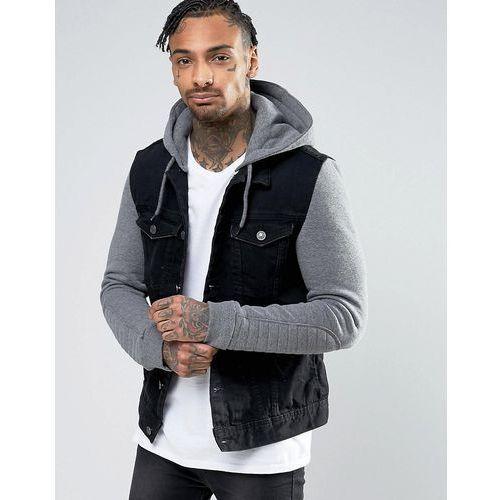River island denim jacket with grey jersey hoodie insert in black - black