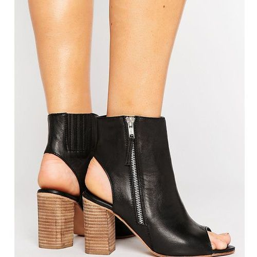 earnest wide fit leather high ankle boots - black, Asos