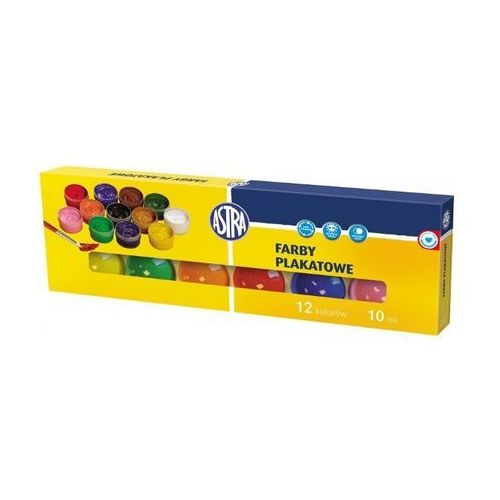 Farby plakatowe 12 kolorów 10ml astra marki Astra papiernicze