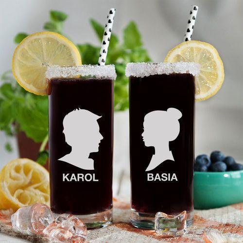Z profilu - dwie grawerowane szklanki - szklanki marki Mygiftdna