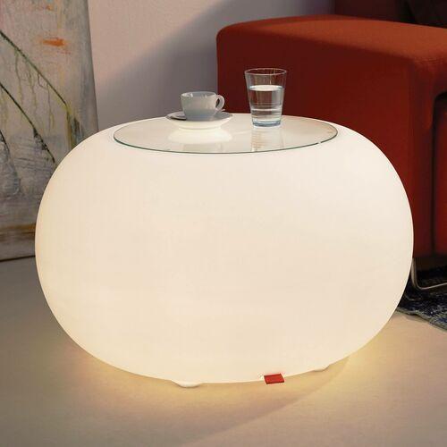 Stolik bubble, białe światło i szklany blat marki Moree