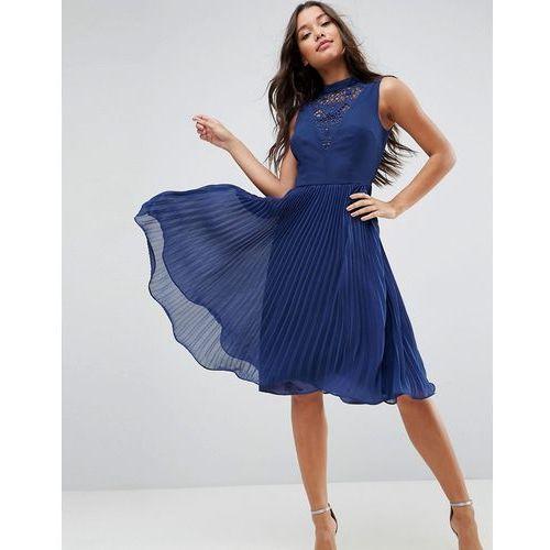 sleeveless lace insert midi dress - navy marki Asos