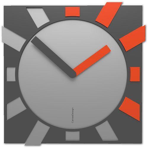 Zegar kwadratowy do salonu Jap-o CalleaDesign szary / pomarańczowy (10-023-63), kolor szary