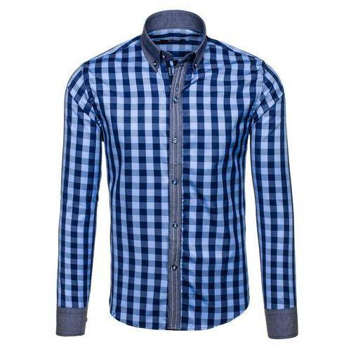 Niebieska koszula męska w kratę z długim rękawem Bolf 6954 - NIEBIESKI