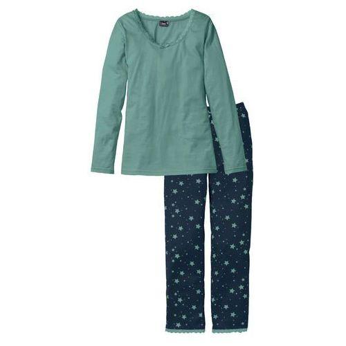 Bonprix Piżama niebieskozielono - ciemnoniebieski z nadrukiem