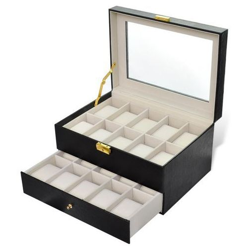 Vidaxl  pudełko na zegarki, szkatułka 20 zegarków