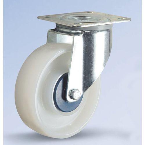 Kółko z poliamidu, białe, Ø x szer. kółka 125x36 mm, rolka skrętna. Wyciszone na