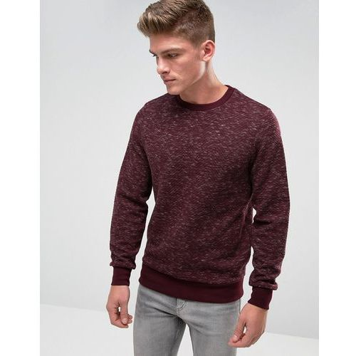 space dye quilted crew neck sweat - red marki Threadbare