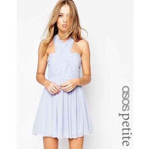Asos petite  wedding multiway mesh mini dress - blue