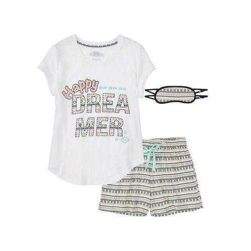 Piżama z krótkimi spodniami i opaską na oczy biel wełny z nadrukiem, Bonprix, XXS-XXXXL