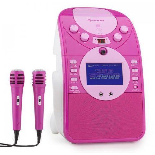 ScreenStar Zestaw karaoke Kamera CD USB SD MP3 z 2 x mikrofon różowy
