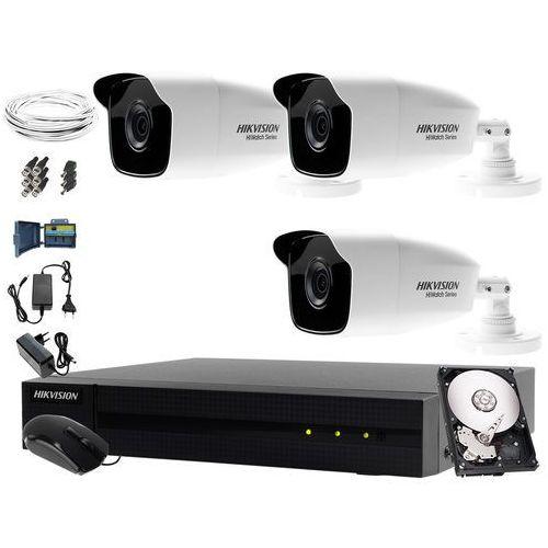 Hikvision hiwatch 3 x hwt-b223-m zestaw monitorujący składowisko wysypisko odpadów hwd-6104mh-g2, 1tb, akcesoria