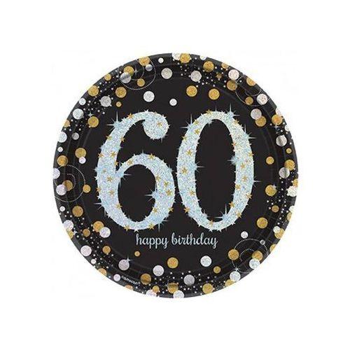 Talerzyki na sześćdziesiąte urodziny - 23 cm - 8 szt.