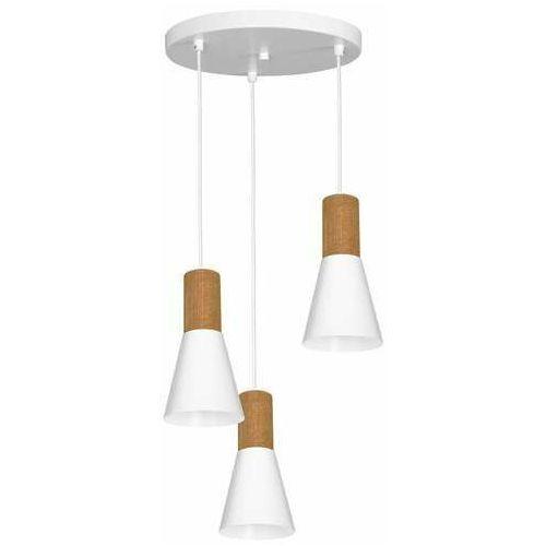 Luminex edmon 1984 lampa wisząca zwis 3x60w e27 biała/drewniana (5907565919844)