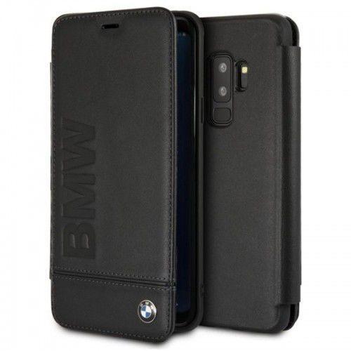 BMW Signature Logo Imprint Book Case - Skórzane etui z klapką Samsung Galaxy S9+ z wytłaczanym logo BMW + kieszenie na karty (czarny) (3700740426432)