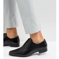 wide fit oxford shoes in black leather with toe cap - black marki Asos