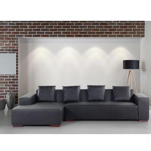 Sofa narożna R - głęboka czerń - skórzana - drewniane nóżki - narożnik - LUNGO