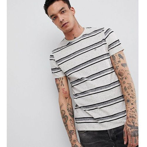 Heart & dagger standard fit striped t-shirt in textured nep fabric - white