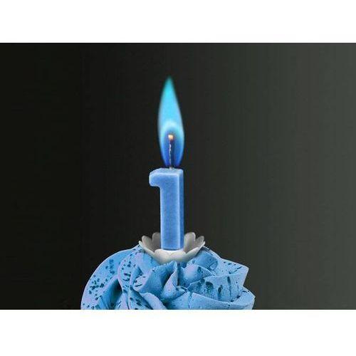 """Świeczka cyferka jedynka """"1"""" z niebieskim płomieniem - 1 szt."""