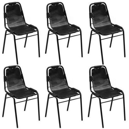 Krzesło do jadalni 6 szt., 49x52x88 cm, skóra, czarne, kolor czarny