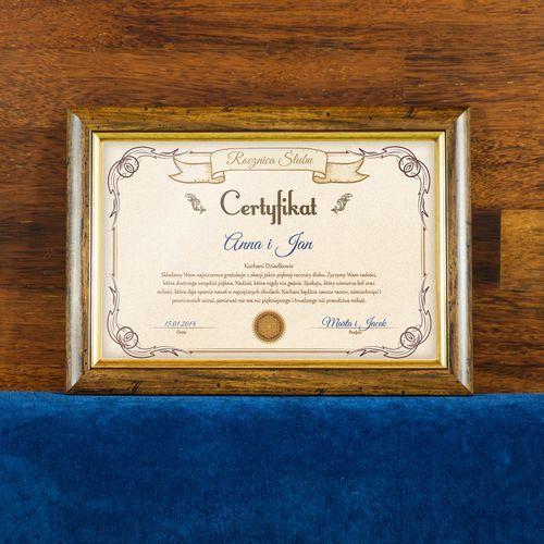 Certyfikat - Rocznica Ślubu Dziadków - Certyfikat obramowany 20x30cm z kategorii Pozostałe na ślub i wesele