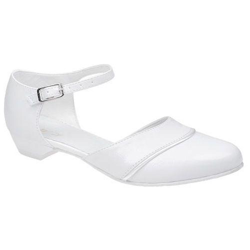 Pantofelki buty komunijne dla dziewczynki KMK 181 Białe - Biały