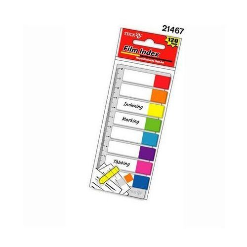 Zakładki indeksujące 8 kolorów neon x 15 sztuk + linijka marki Stickn