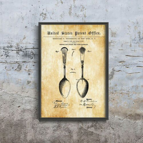 Vintageposteria.pl Plakat w stylu vintage plakat w stylu vintage osiris flatware spoon patent usa
