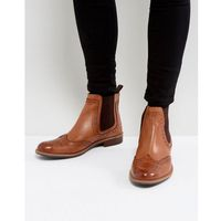 brogue chelsea boots in tan leather - tan, Silver street