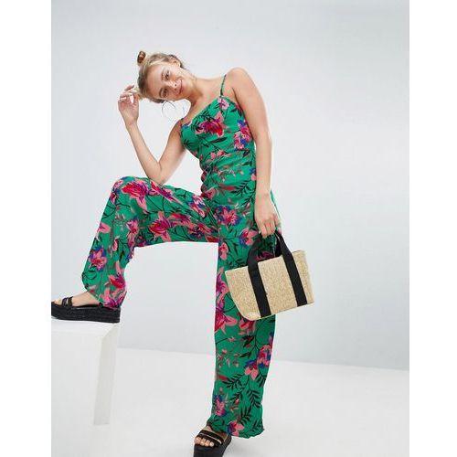 floral printed jumpsuit in green - red, Bershka, 34-40