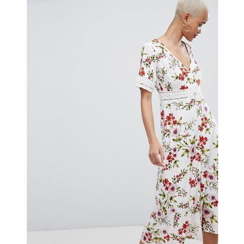 floral broderie insert midi dress - white, Prettylittlething