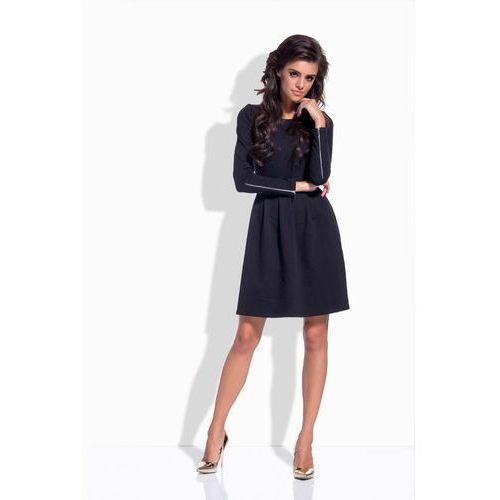 Czarna Rozkloszowana Klasyczna Sukienka z Suwakami, kolor czarny