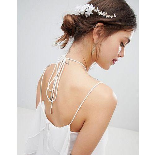 ASOS DESIGN Bridal Premium Pearl And Crystal Bead Back Hair Crown - Gold