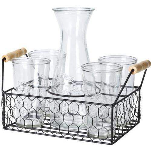 Komplet 4 szklanek i karafki 1 l w metalowym stojaku Excellent