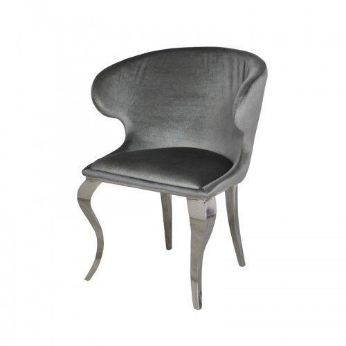 Krzesło glamour Victor Dark Grey - nowoczesne krzesło tapicerowane, kolor szary