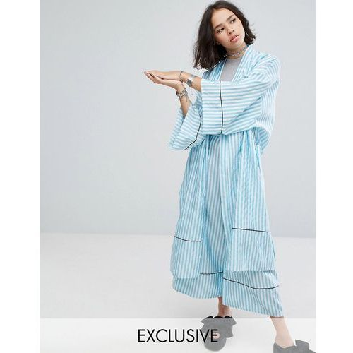 Reclaimed vintage  inspired striped longline kimono with piping & belt - blue