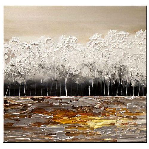 ręcznie malowany, grubo fakturowany obraz nowoczesny 80x80cm