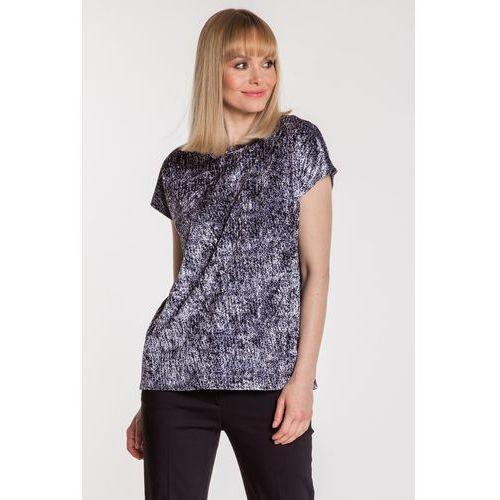 Szaro-czarna bluzka welurowa - marki Studio mody pdb