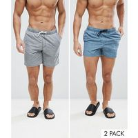 ASOS Swim Shorts 2 Pack In Mid And Short Length In Acid Wash Grey And Blue - Multi, w 5 rozmiarach