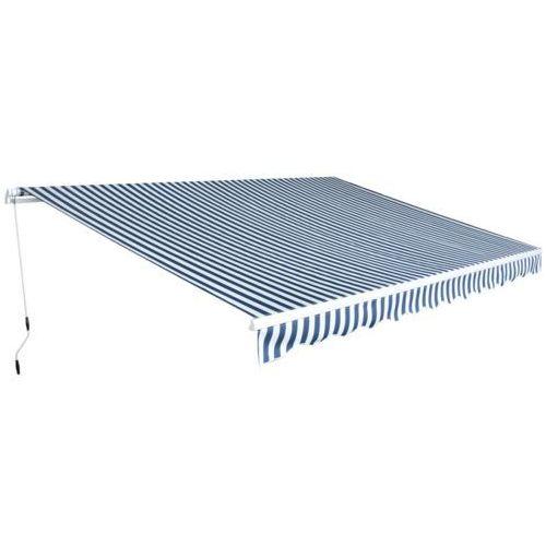 vidaXL Zwijana markiza 4,5x3 m w niebieskie i białe pasy